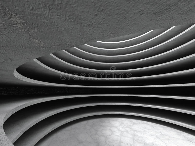 Abstract concrete architecture circle hall background. 3d render illustration stock photos