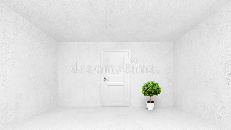 Abstract concrete empty interior with white closed door and dec. Oration plant royalty free illustration