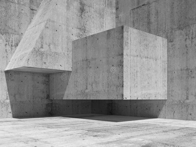 Abstract concrete interior fragment, 3d render. Abstract concrete interior fragment with simple geometric shapes in a corner, 3d illustration background vector illustration