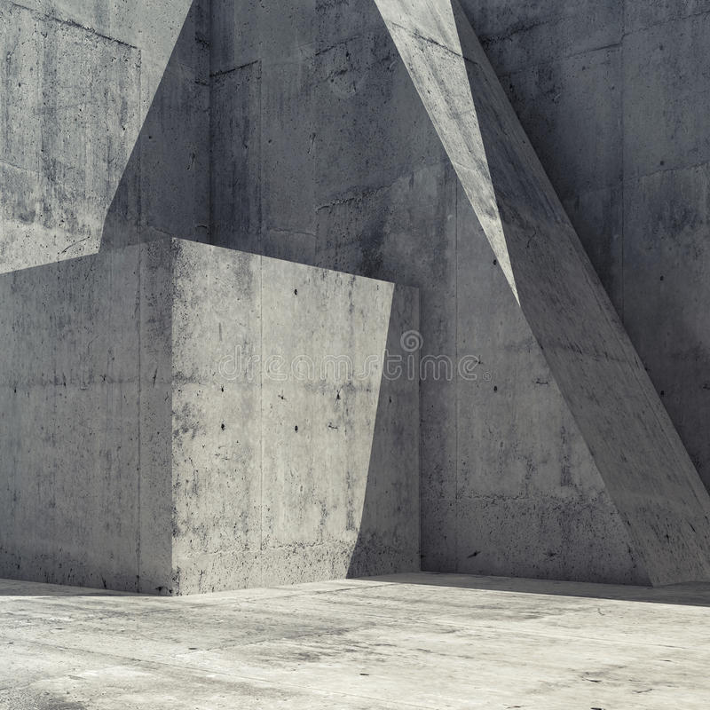 Abstract concrete interior with geometric shape 3 d royalty free illustration