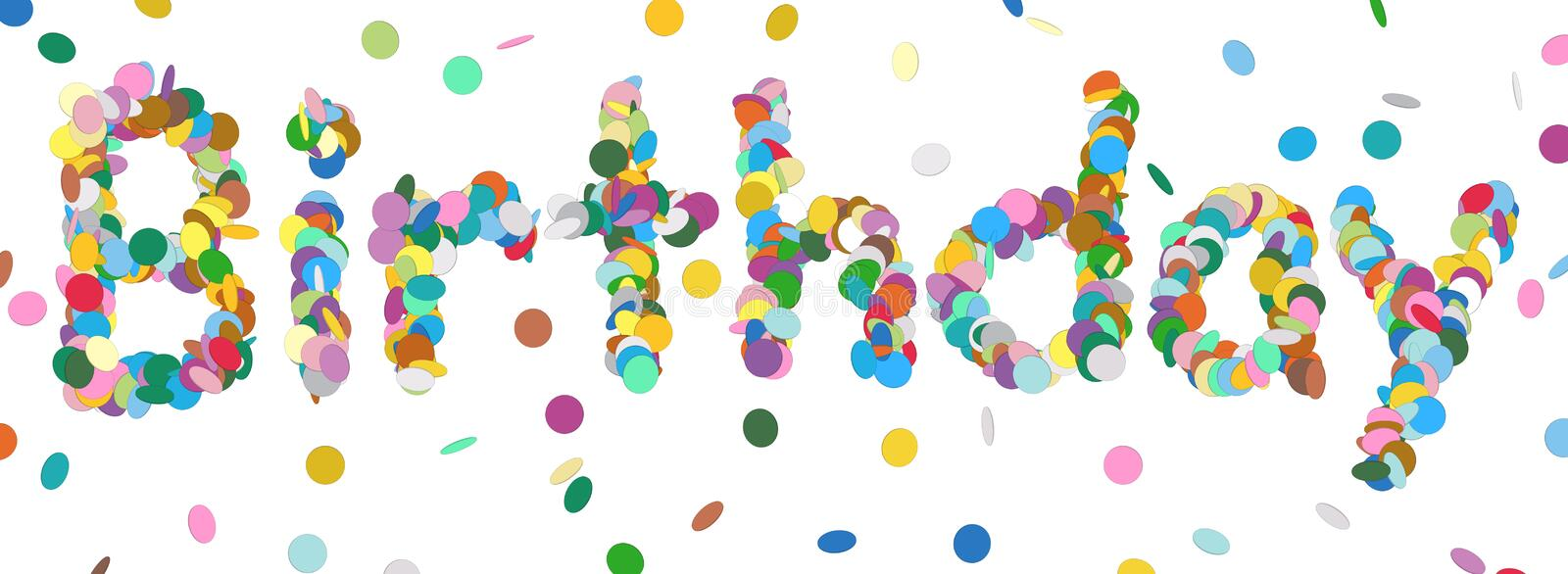 Birthday - Written with Colorful Confetti. Vector Panorama Illustration Isolated on White Background! stock illustration