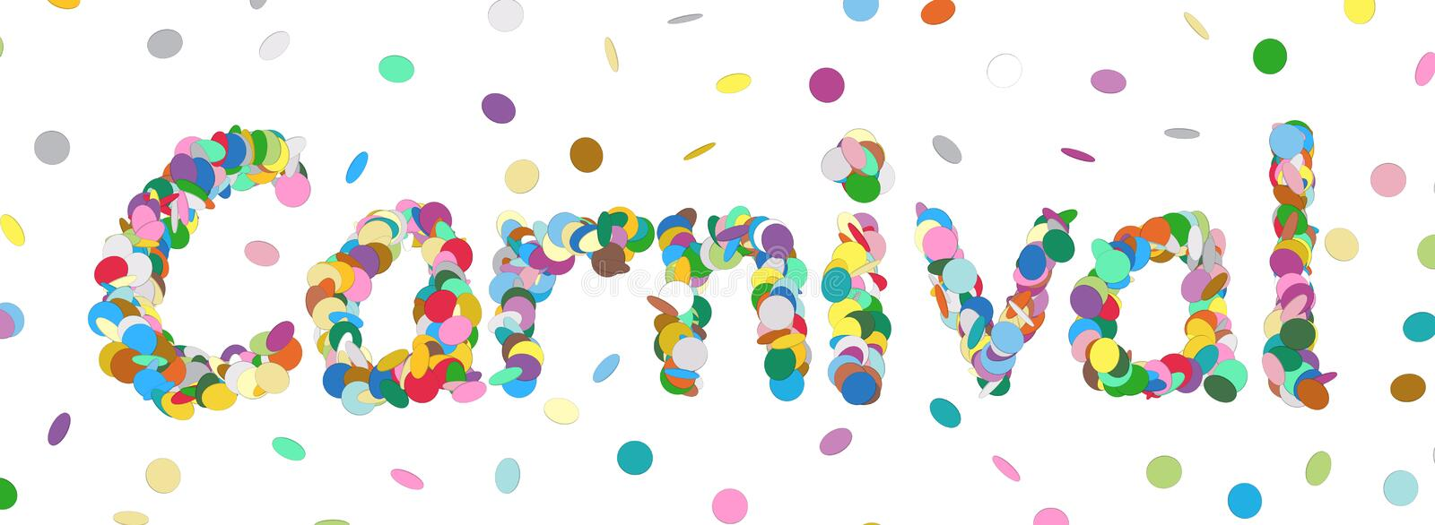 Carnival - Written with Colorful Confetti. Vector Panorama Illustration Isolated on White Background! stock illustration