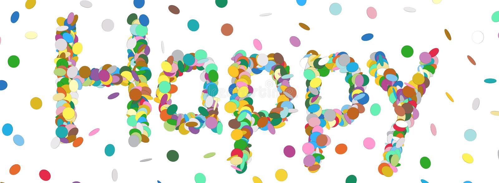 Abstract Confetti Word - Happy Letter - Colorful Panorama Vector royalty free illustration