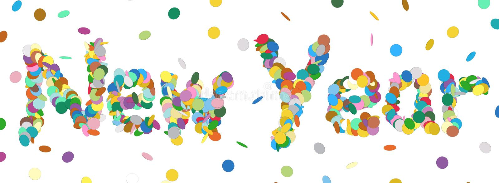Abstract Confetti Word - New Year Letter - Colorful Panorama Vec vector illustration