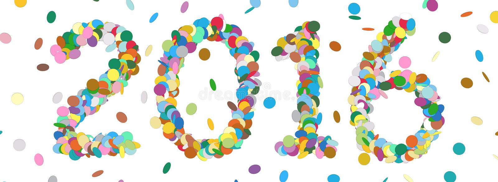 Abstract Confetti Year Date - 2016 - Colorful Panorama Vector vector illustration