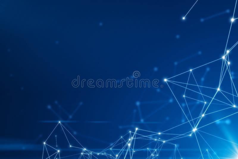 Abstract connected dots on bright blue background stock illustration