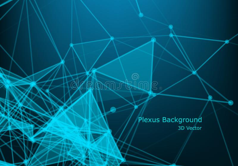Abstract connecting dots and lines. Connection science background. Vector illustration. Background Polygonal Cyber Structure. Data Connection Concept stock illustration