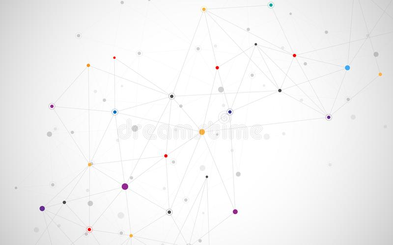 Abstract connecting dots and lines. Connection science and technology background. Vector illustration. royalty free illustration