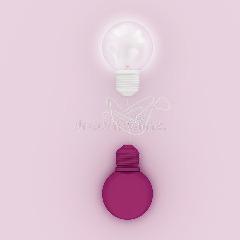 Abstract connection on - off white glass lighting bulbs with white line on pink pastel background for copy space. minimal concept. stock illustration