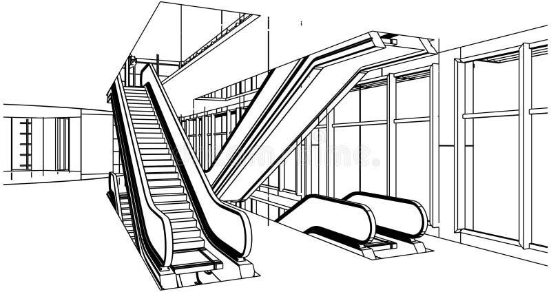 abstract construction with escalator vector stock vector