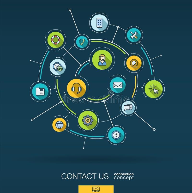 Abstract contacteer ons, call centreachtergrond Digitaal sluit systeem aan geïntegreerde cirkels, vlakke dunne lijnpictogrammen a royalty-vrije illustratie