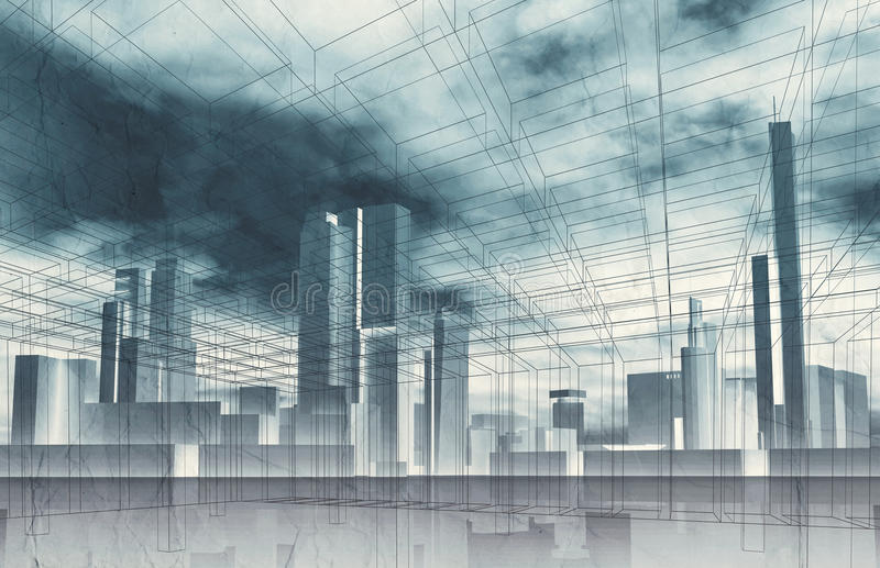 Abstract contemporary city background. Cityscape skyline, dramatic sky and wire frame lines pattern layer. Blue toned digital 3d render illustration stock illustration