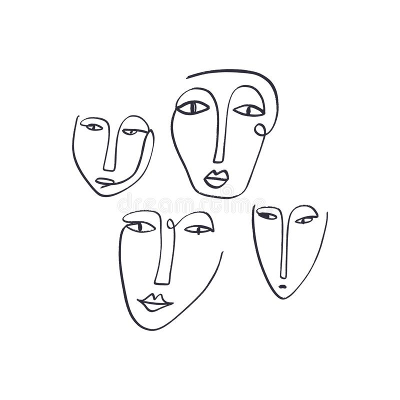 Abstract continuous one line drawing ink faces. Modern style portraits. EPS illustration stock illustration
