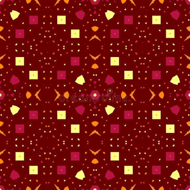 Abstract contrast naadloos patroon Karmozijnrode sinaasappel, geel, elementen; bruine achtergrond stock illustratie