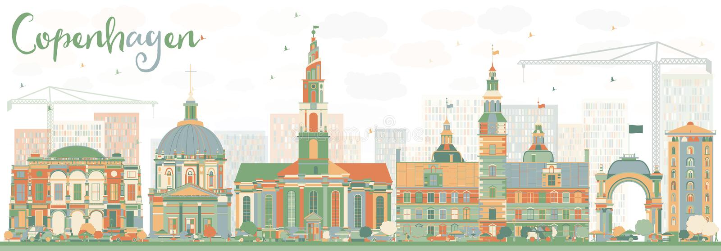 Abstract Copenhagen Skyline with Color Landmarks. royalty free illustration