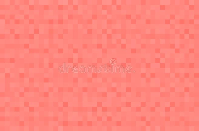 Abstract coral gradient background. Texture with pixel square blocks. Mosaic pattern.  vector illustration