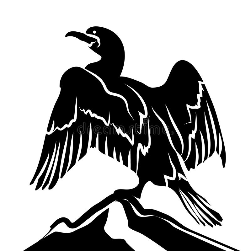 Abstract Cormorant in Black and White. Abstract Cormorant in Black Over White Background royalty free illustration
