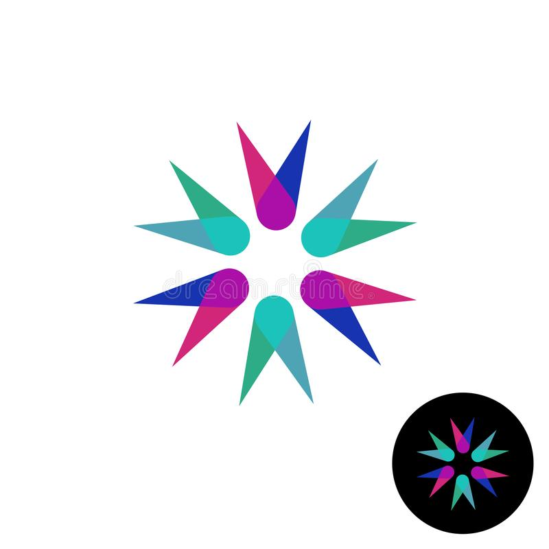 Abstract corner flower overlay style logo. Sharp triangles transparent royalty free illustration