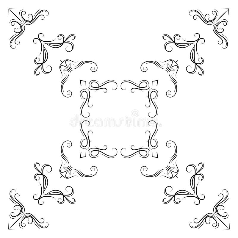 Abstract corner pattern. Set of vintage calligraphic linear corners for retro frames. stock illustration