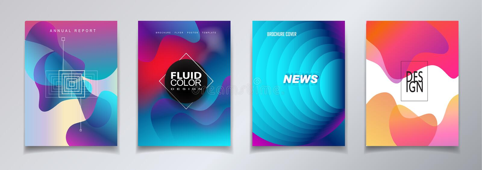 Abstract covers template set bauhaus, memphis and hipster style. Abstract modern art covers template set with bauhaus, memphis and hipster style graphic fluid royalty free illustration