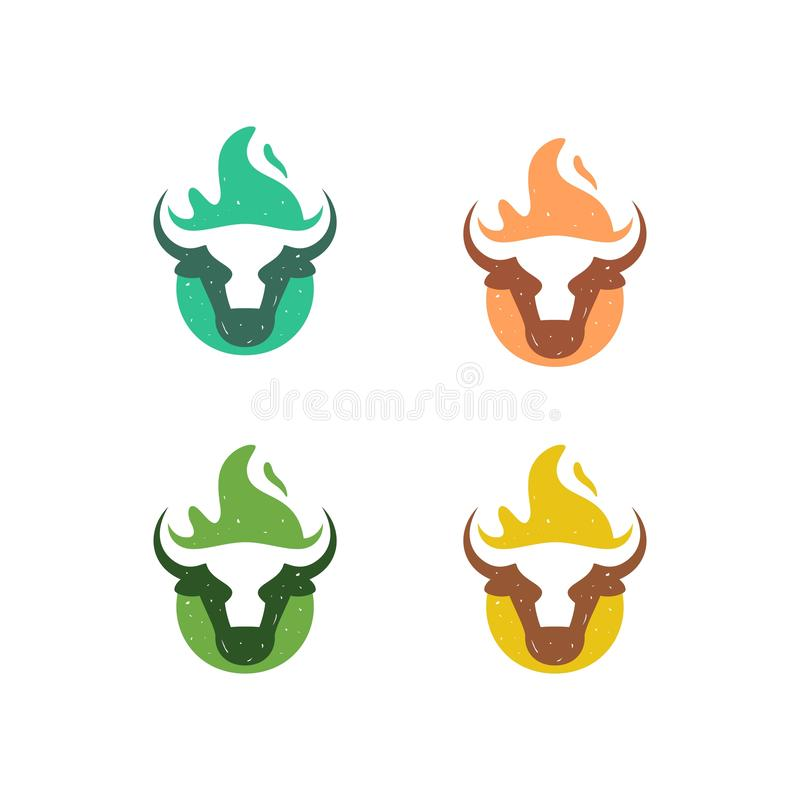Abstract Cow Fire Concept illustration vector Design template stock illustration