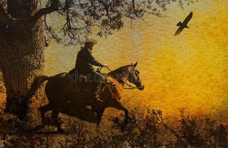 Download An Abstract Cowboy Riding In The Mountains With Trees, Crows Flying Above And A Textured Watercolor Yellow Background. Stock Image - Image: 43949815