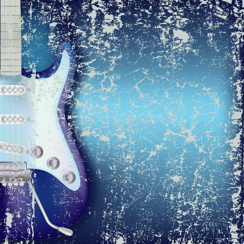 Abstract cracked background electric guitar. Abstract cracked blue background electric guitar stock illustration