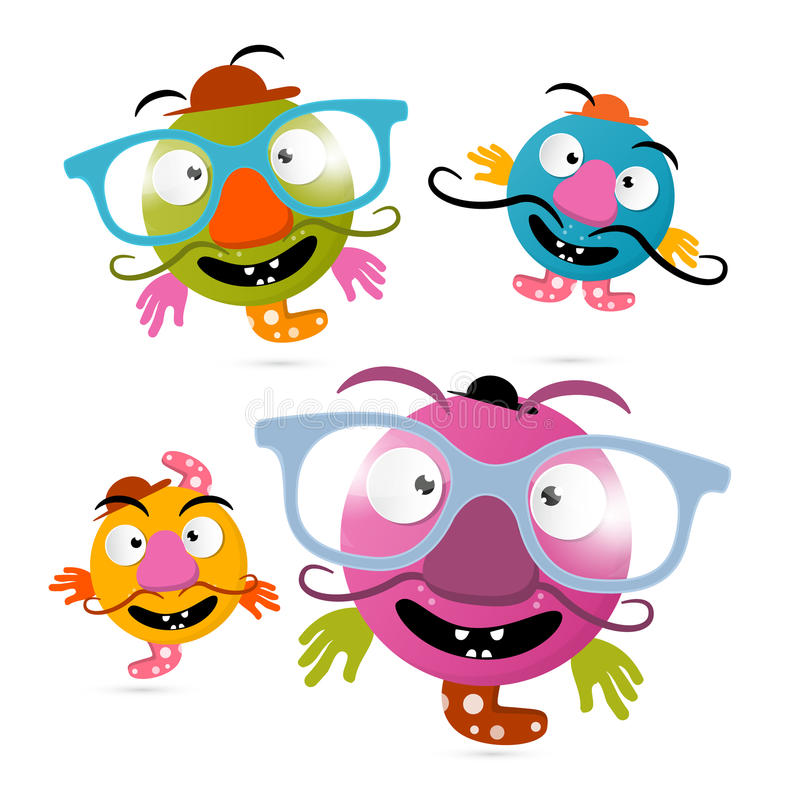 Abstract Crazy Monsters Illustrations royalty free illustration