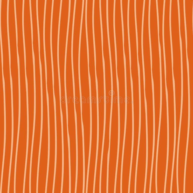 Abstract cream hand drawn vertical doodle line design. Seamless irregular vector pattern on bright orange background stock illustration