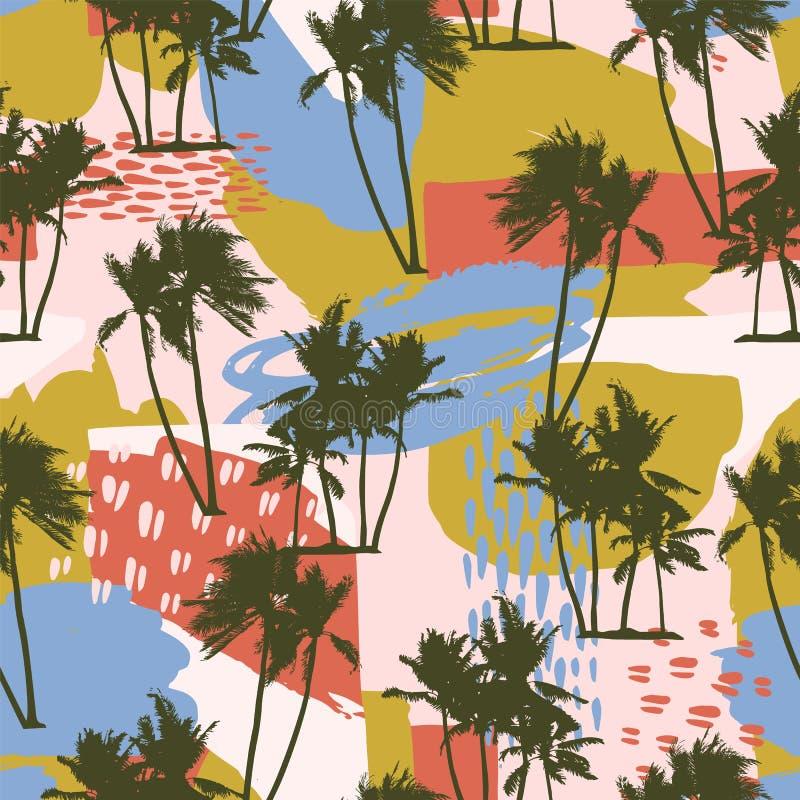 Abstract creatief naadloos patroon met tropische palmen en artistieke achtergrond royalty-vrije illustratie