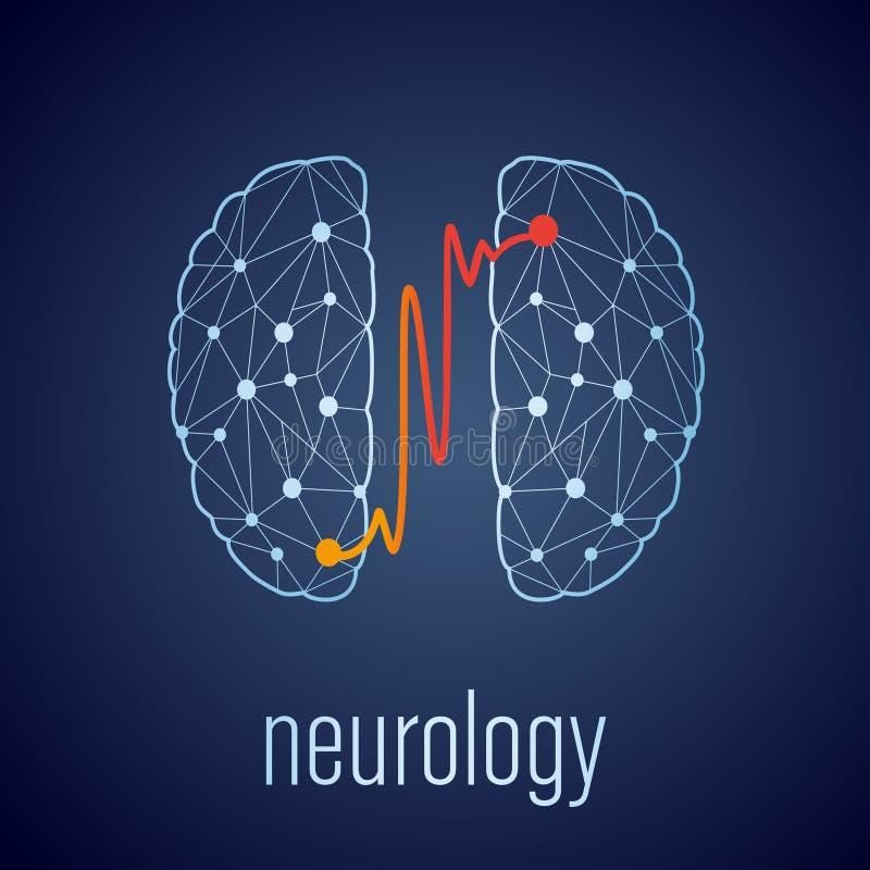 Abstract creatief neurologieconcept met menselijke hersenen royalty-vrije illustratie