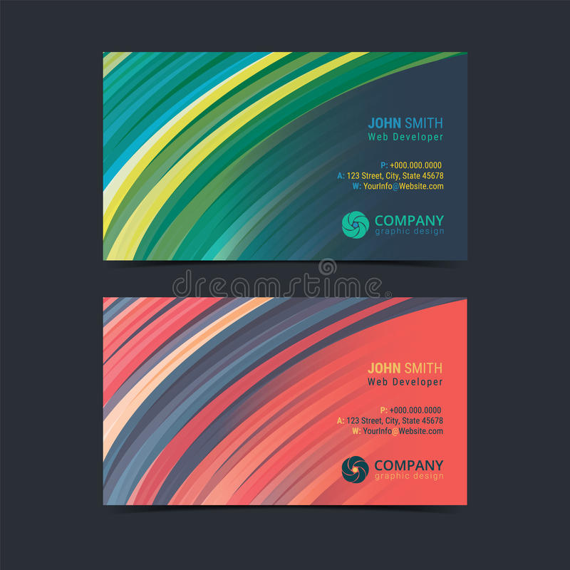 Download Abstract Creative Business Card Design Layout Template With Curves Pattern Background Stock Vector