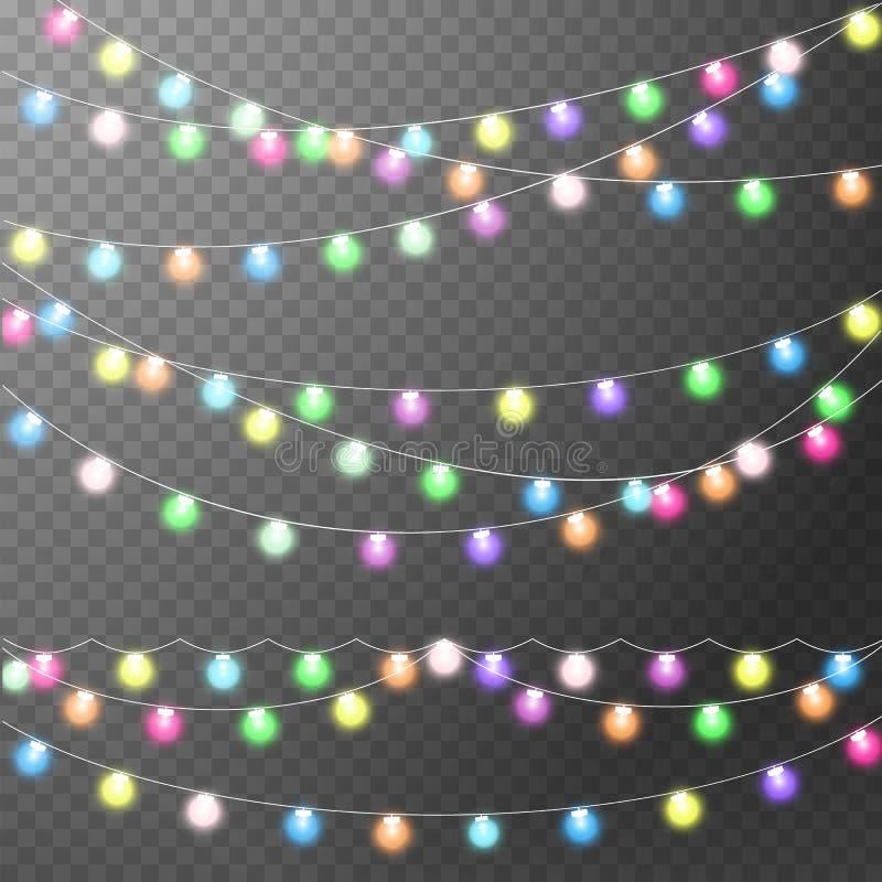 Abstract creative christmas garland light stock illustration