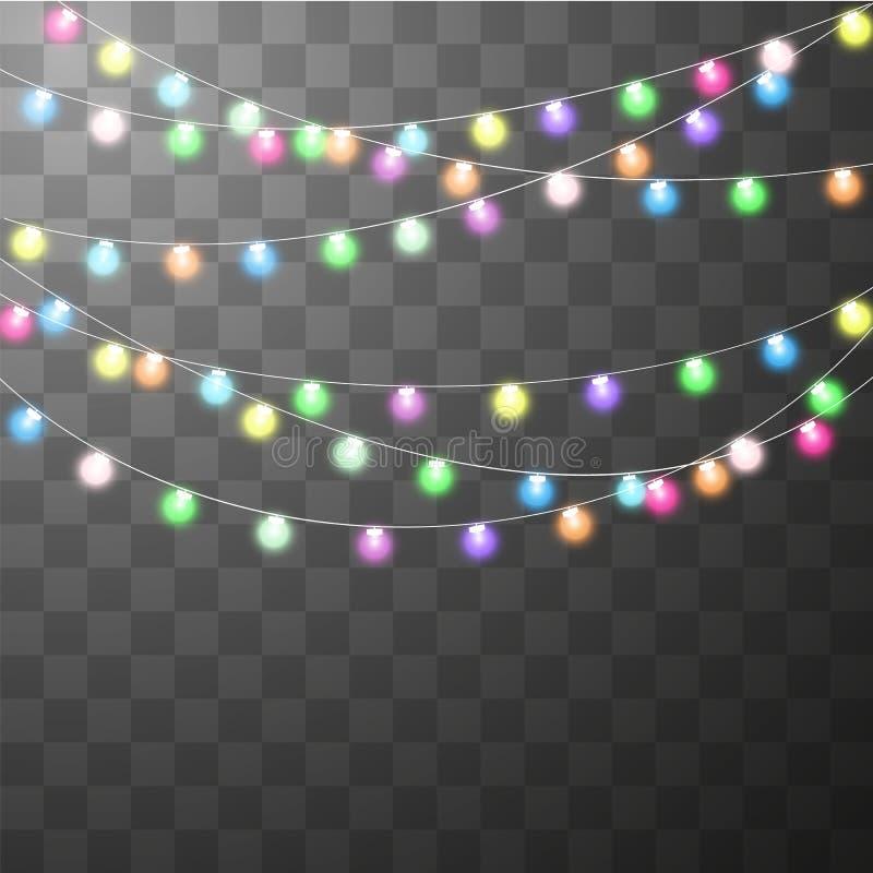 Abstract creative christmas garland light vector illustration