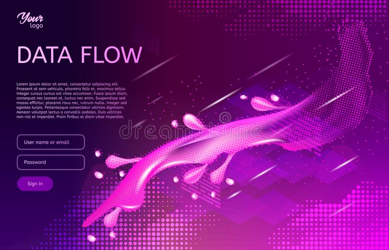 Abstract and creative concept of data flow. Isometric vector illustration. Process of data movement royalty free illustration