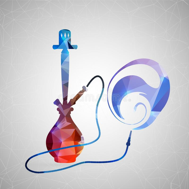 Abstract creative concept icon of hookah. For web and mobile content isolated on background, unusual template design, flat royalty free illustration