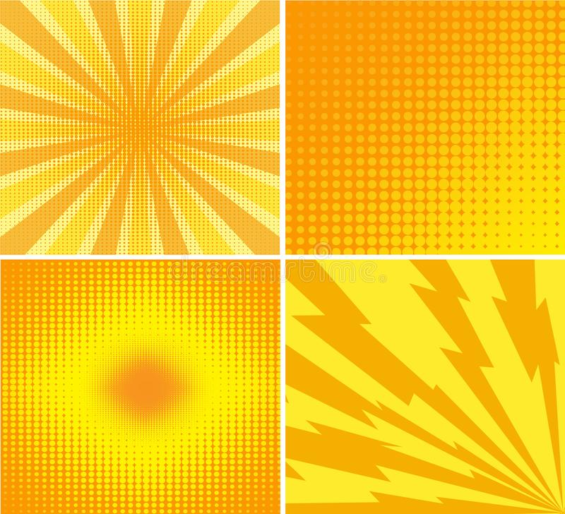 Abstract creative concept vector comics pop art style blank layout template with rays and dots pattern on background. For Web and royalty free illustration