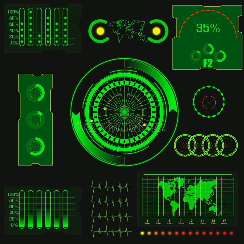 Abstract creative concept vector futuristic green virtual graphic touch user interface HUD. For web, site, mobile. Abstract creative concept vector futuristic royalty free illustration