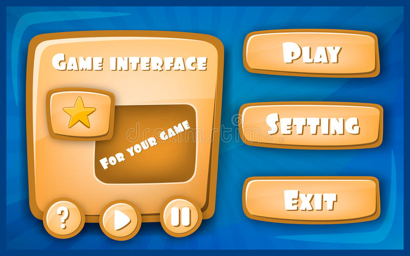 Abstract Creative concept vector Interface game design, resource bar and resource icons for games. Funny cartoon design. Ui game control panel including text royalty free illustration
