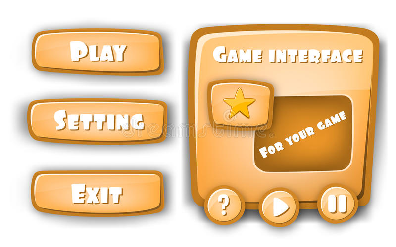 Abstract Creative concept vector Interface game design, resource bar and resource icons for games. Funny cartoon design. Ui game control panel including text vector illustration
