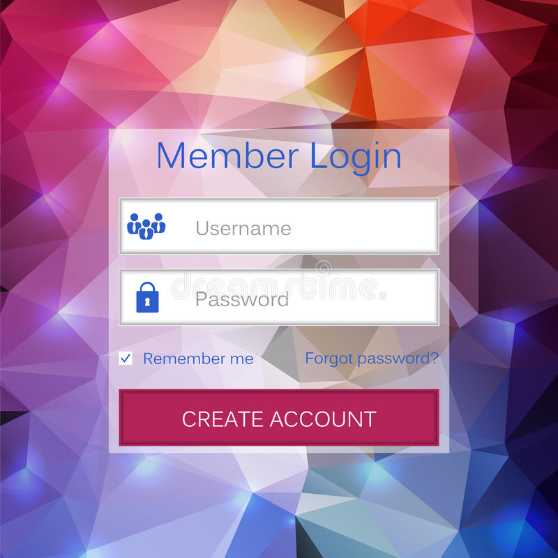 Abstract creative concept vector member login form interface. For web page, site, mobile applications, art illustration stock illustration