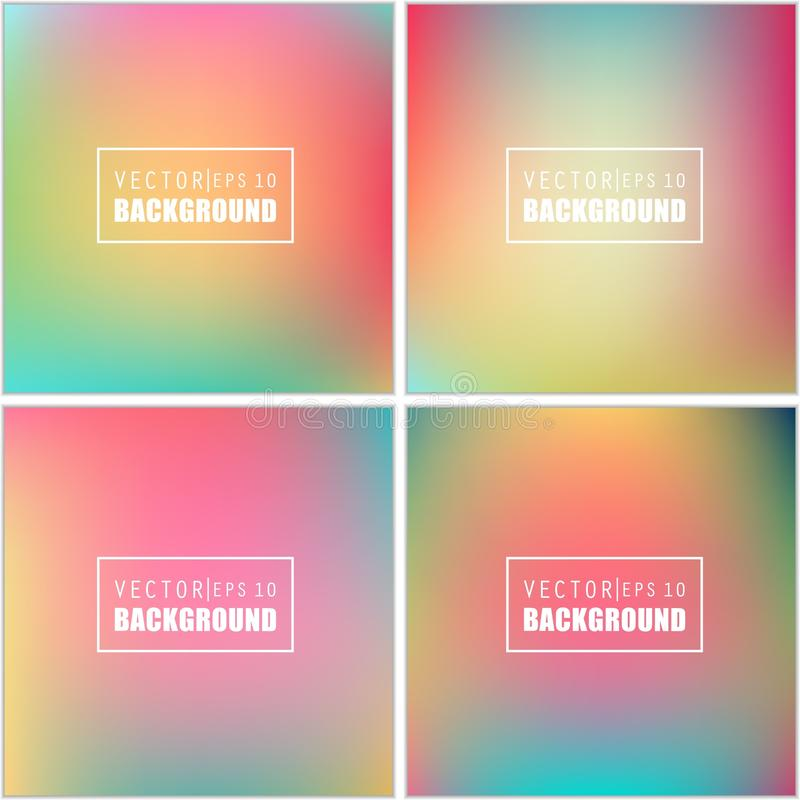 Abstract Creative concept vector multicolored blurred background set. For Web and Mobile Applications, art illustration. Template design, business infographic royalty free illustration