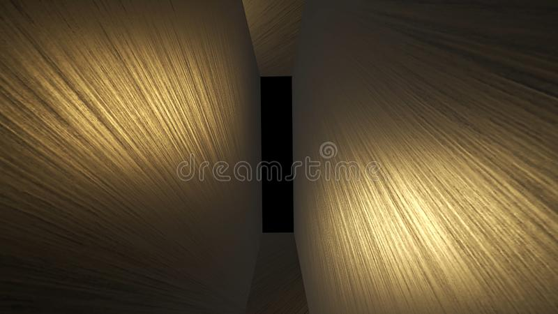 Abstract creative futuristic golden tunnel with alpha channel. 3D Rendering, modern technology corridor.  stock illustration