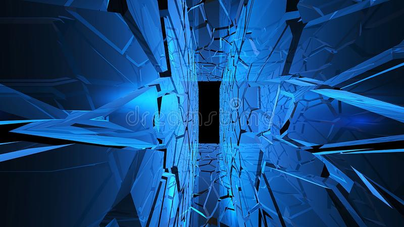Abstract creative ice tunnel with mirror wall. Cold, frozen futuristic stage with blue light and alpha channel end of corridor royalty free stock image
