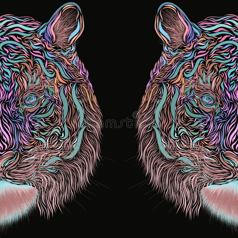 Abstract creative image of a tiger on a black background vector illustration