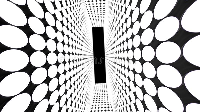 Abstract creative tunnel with dots. Geometric design, swirling and alpha channel end of tunnel.  royalty free illustration
