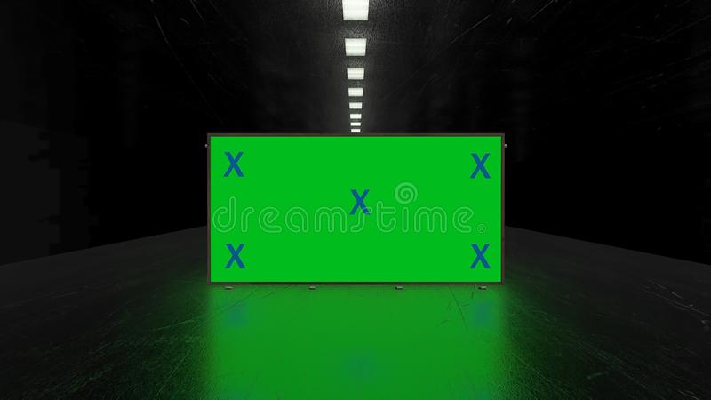 Abstract creative tunnel and green screen alpha channel billboard mock up. Neon, blue purple led bars and technology, sci fi, futu. Ristic cyber punk 3D stock illustration