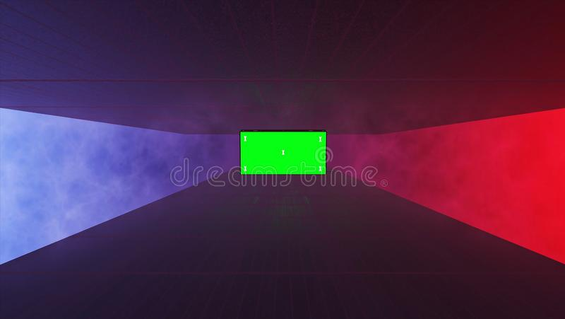 Abstract creative tunnel and green screen alpha channel billboard mock up. Neon, blue purple led bars and technology, sci fi, futu. Ristic cyber punk 3D royalty free illustration
