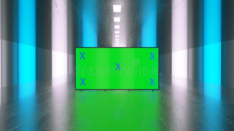 Abstract creative tunnel and green screen alpha channel billboard mock up. Neon, blue purple led bars and technology, sci fi, futu. Ristic cyber punk 3D vector illustration