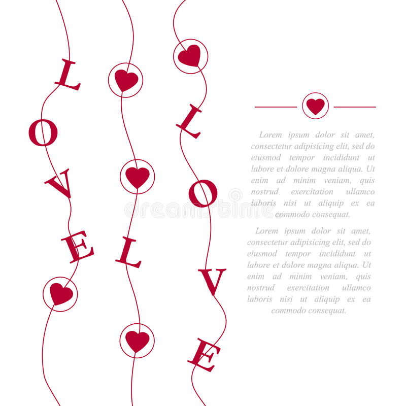 Abstract creative vector design layout with lettering - love. Romantic card on Valentines day. Modern concept background stock illustration